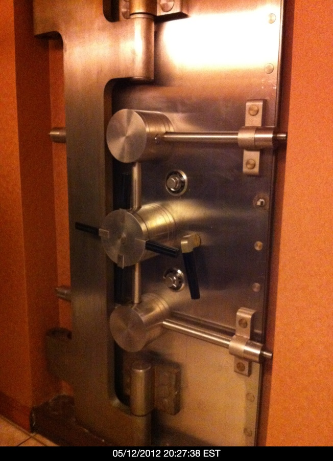 The bank vault as seen in the men's rest room.