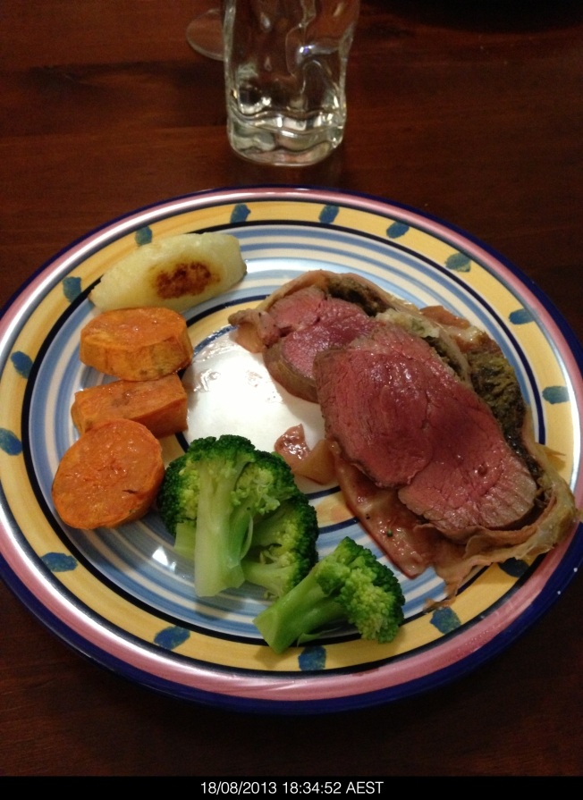 Bron made Beef Wellington. It was delicious. The potato was cooked in duck fat.