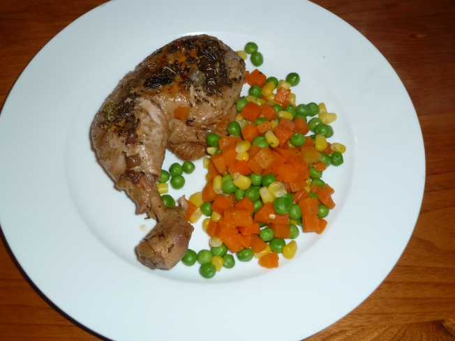 Chicken Maryland and vegetables.