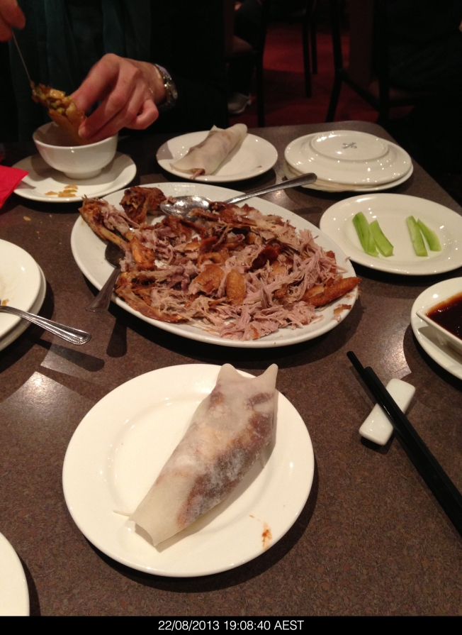 Crispy duck pancakes at the Dumpling Inn are THE BEST. Yummy.
