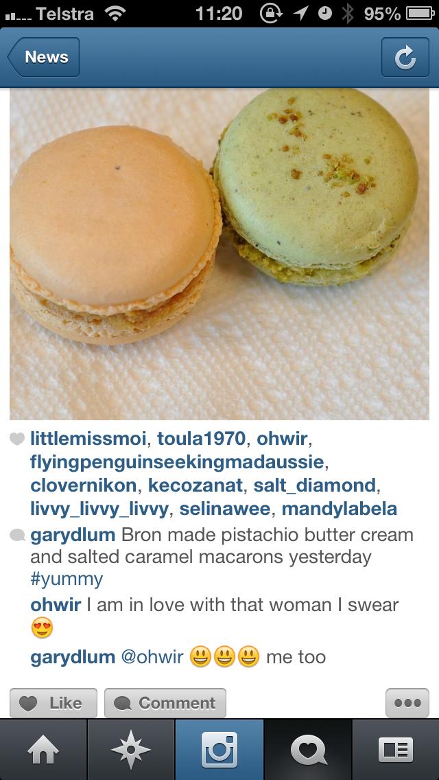 Bron made pistachio and salted caramel macarons.