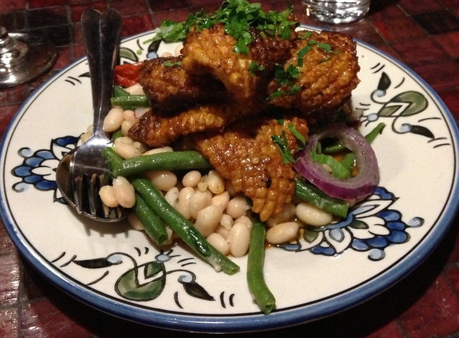 Moroccan spiced calamari with Turkish bean salad