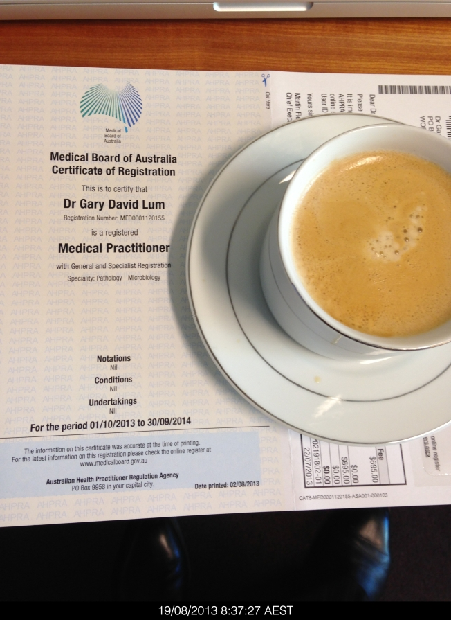 I received my annual practicing certificate from the Australian Health Practitioners Registration Authority. Best with coffee lol