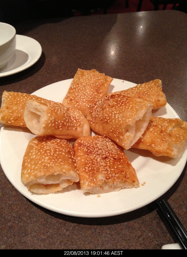 Crispy and tasty sesame rolls into which you stuff tasty chopped meat. This was yummy.