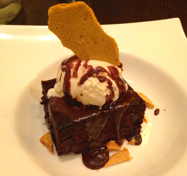 Hot Fudge Brownie Rich chocolate brownie topped with vanilla ice cream, lashed with hot chocolate fudge, Finished with house made honeycomb