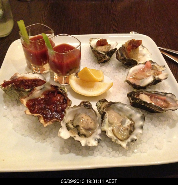 Ten oysters prepared in five ways. Bacon and bourbon, natural, pickled ginger, fried tempura and as an oyster shooter