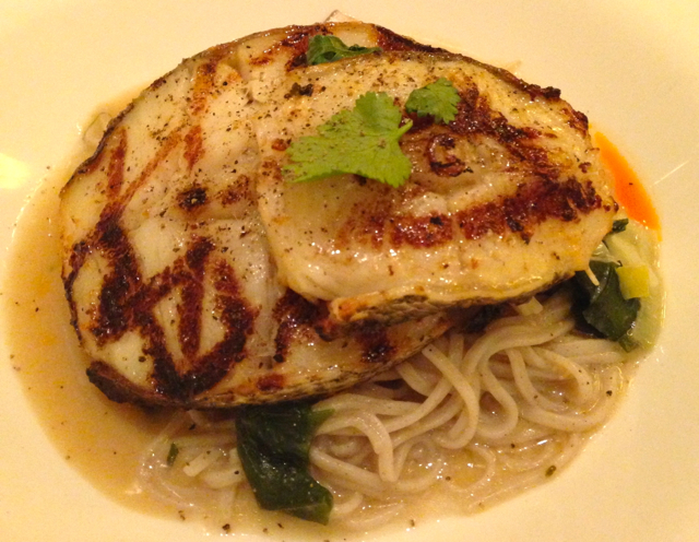 Patagonian toothfish on a bed of noodles in Miso with a mixture of mushrooms