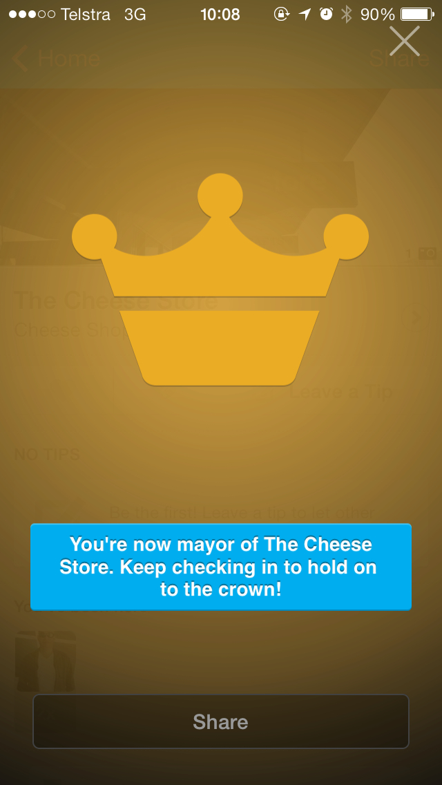 I'm The Cheese Store Foursquare mayor
