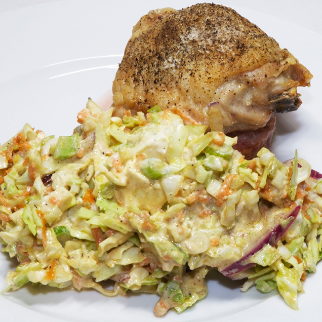 Roast chicken thigh with a cabbage salad