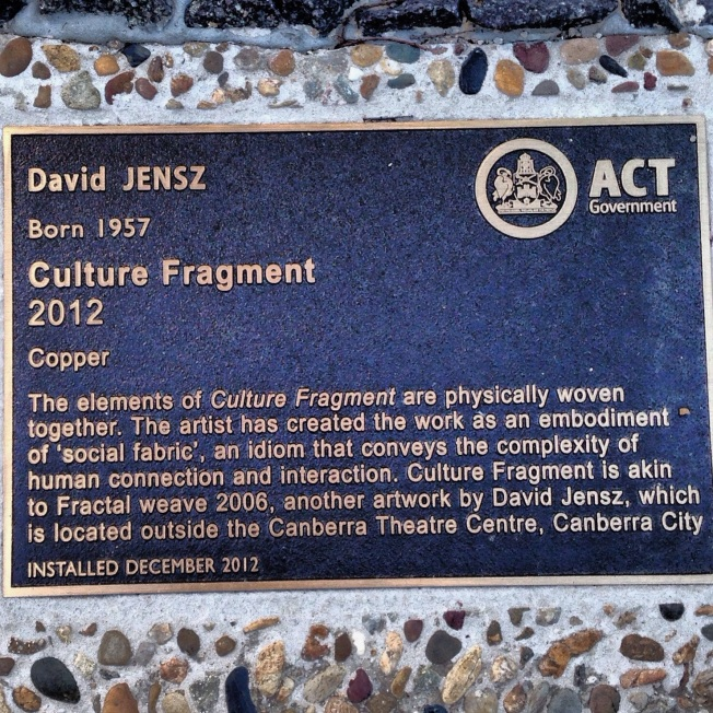 At last there is a plaque for this piece of Canberra public art