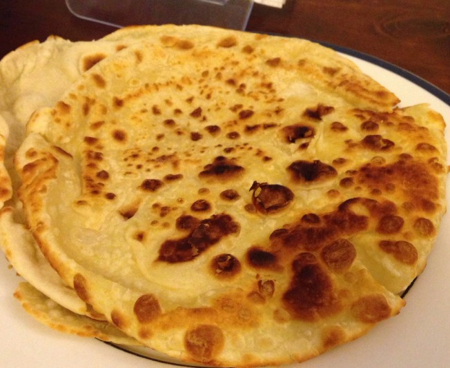 Bron made this roti from scratch using self raising flour and coconut cream. Cooked in ghee.