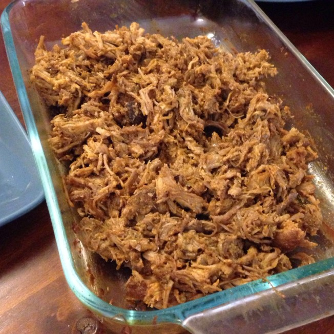 This was Bron's yummy pulled pork. I helped pull it and then Bron used her Kitchenaid to pull it some more.