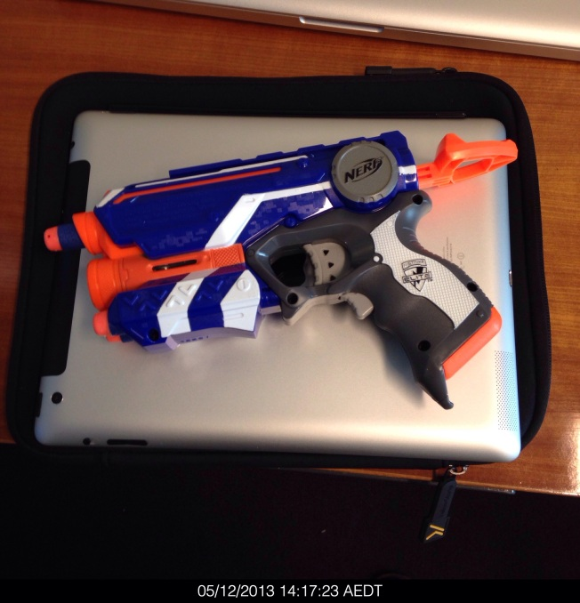 Thursday 2013-12-05 14.17.21 AEDT Nerf gun set up