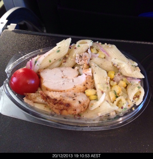 Friday 2013-12-20 19.10.51 AEDT Chicken pasta for dinner on QF1554 CBR to BNE