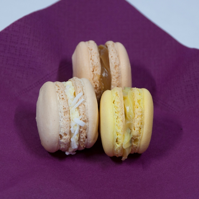 Sunday 2014-01-05 13.26.35 AEDT Bron made macarons and shared them with me. There are three varieties, viz., Piña colada, Salted caramel and Passionfruit. They were incredible.