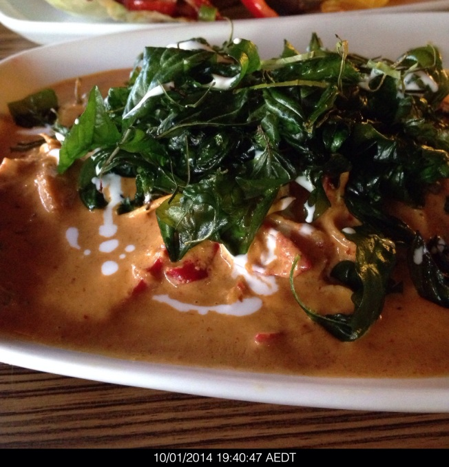 Friday 2014-01-10 19.40.45 AEDT PLA CHOO CHEE Pan fried barramundi topped with chilli, cooked in coconut milk, kaffir lime leaves and sweet basil leaves