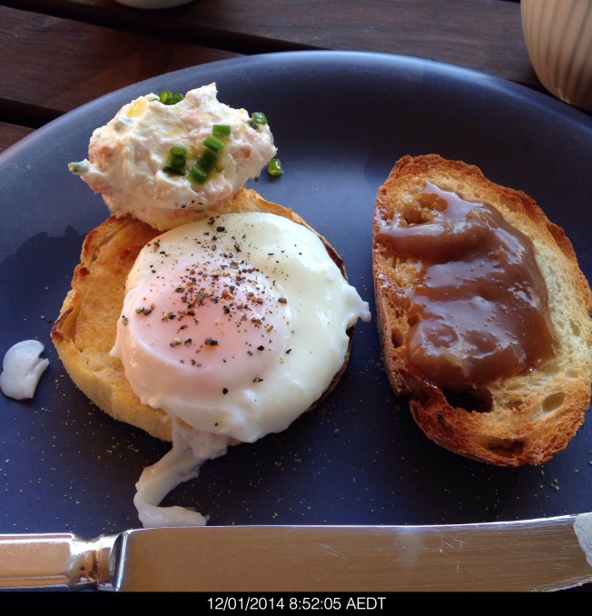 Sunday 2014-01-12 08.52.03 AEDT For breakfast I had a poached egg with the ocean trout and horseradish cream plus salted caramel on toast