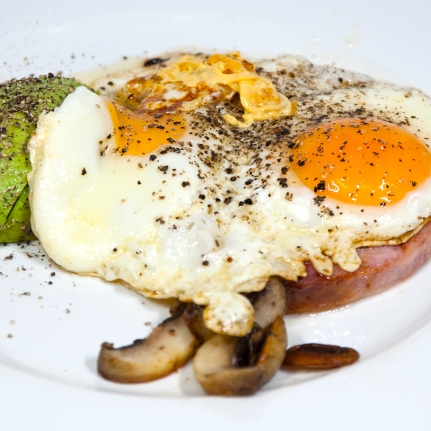 Friday 2014-01-17 06.27.47 AEDT Focus on eggs with a ham steak, avocado and mushroom for breakfast