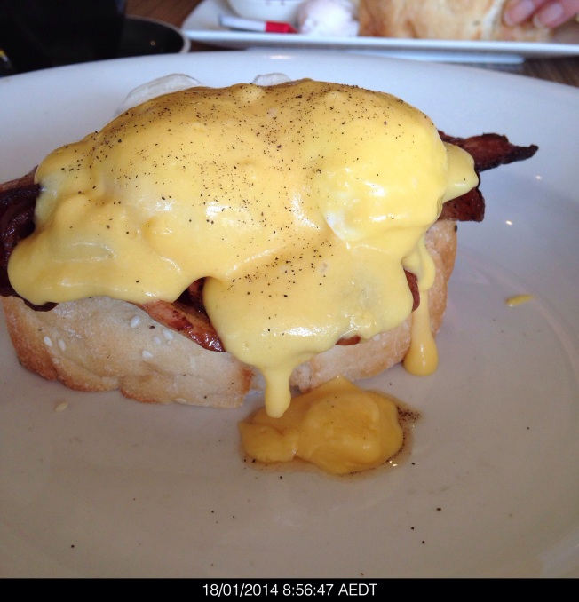 Saturday 2014-01-18 08.56.45 AEDT Eggs Benedict for breakfast sans toast from Rocksalt