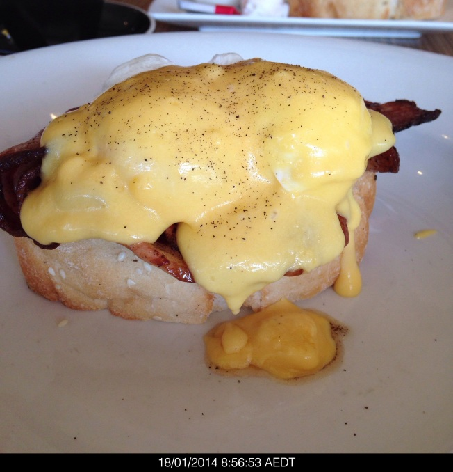 Saturday 2014-01-18 08.56.49 AEDT Eggs Benedict from Rocksalt sans toast