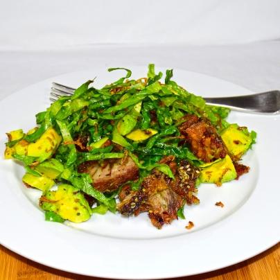 Sunday2014-01-19 18.17.40-1AEDTWarm lamb salad made with roast lamb, cos lettuce, avocado, and fried shallots.