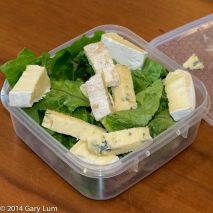 Thursday 2014-01-23 12.39.00-2 AEDT Lunch box with Blue cheese, Brie, cos lettuce, lamb and pork