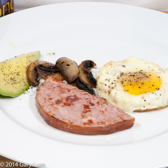 Friday 2014-01-24 06.38.44 AEDT Ham steak with a fried egg, mushroom and avocado.