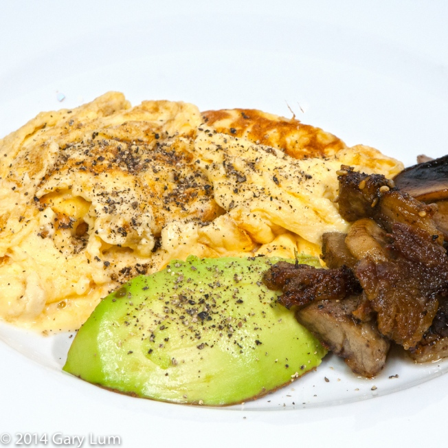 Saturday 2014-01-25 07.29.35 AEDT This morning's breakfast was scrambled eggs made with pouring cream plus some lamb, mushroom and avocado.