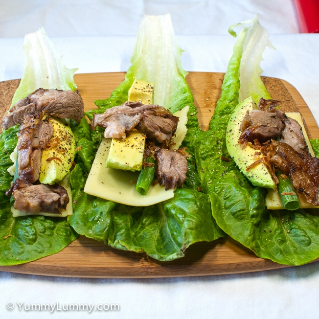 Saturday 2014-02-01 17.17.21 AEDT Dinner was a little lamb, spring onion, avocado, Colby cheese and lettuce.