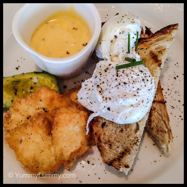 Sunday 2014-02-02 09.24.38-3 AEDT Breakfast at Ellacure in Bruce. Poached eggs, fried haloumi, avocado and a side of Hollandaise. Delicious.
