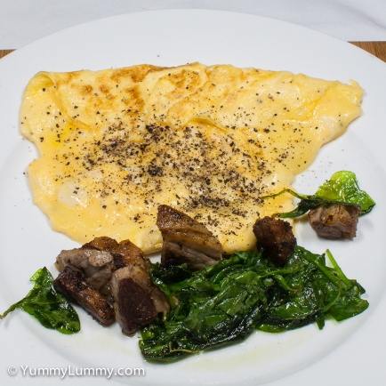 Monday2014-02-03 06.23.11AEDT Scrambled eggs, lamb and spinach for breakfast.