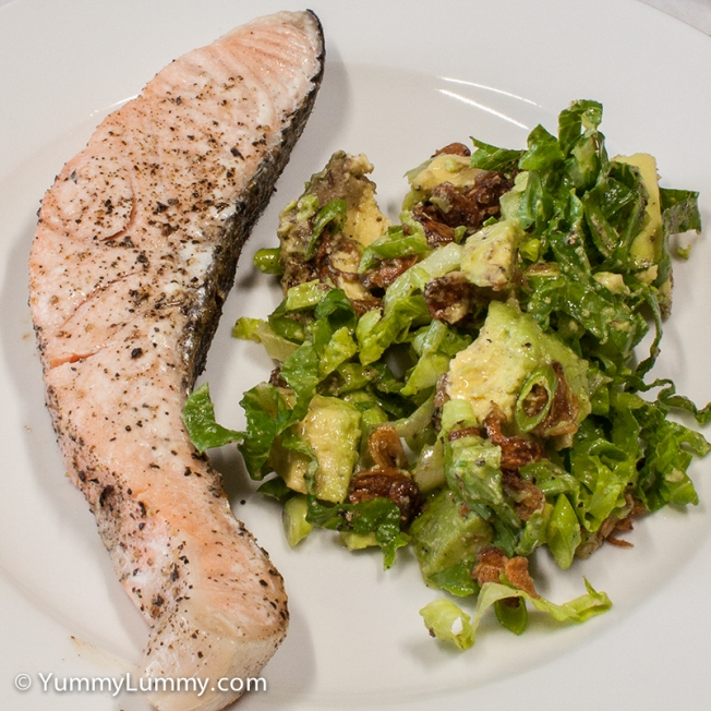 Monday 2014-02-03 18.22.07 AEDT Salmon and salad dinner.