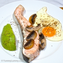 Tuesday 2014-02-04 05.58.00 AEDT Salmon and egg with avocado for breakfast
