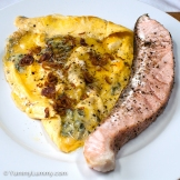 Tuesday 2014-02-04 18.02.14 AEDT Salmon and scrambled eggs with blue cheese for dinner