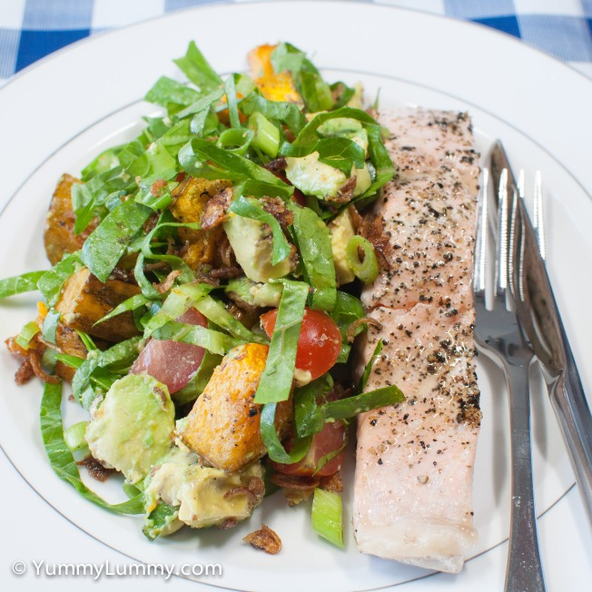 Monday 2014-02-10 18.21.20 AEDT Salmon and salad for dinner