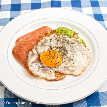 Wednesday 2014-02-12 05.49.58 AEDT Fried egg and spam with lamb and avocado for breakfast.