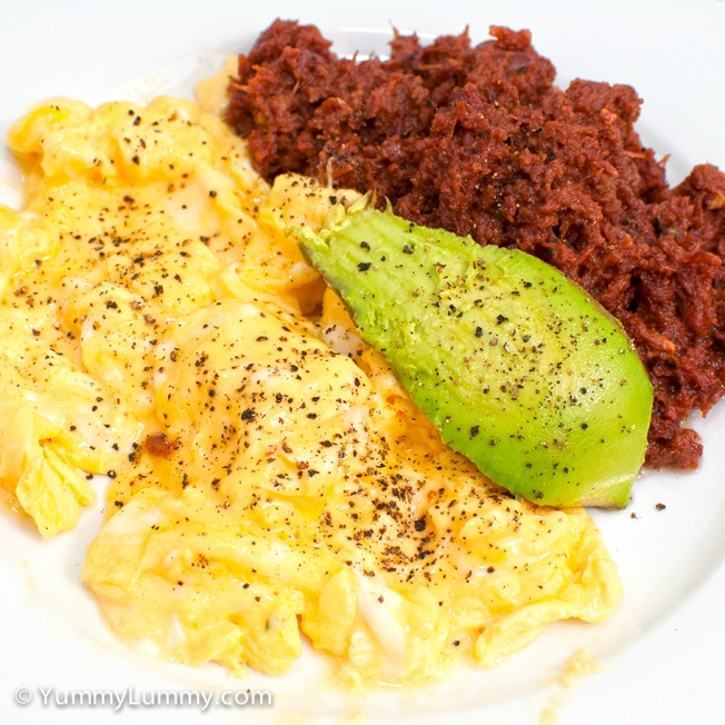 Hashed corned beef, scrambled eggs and avocado