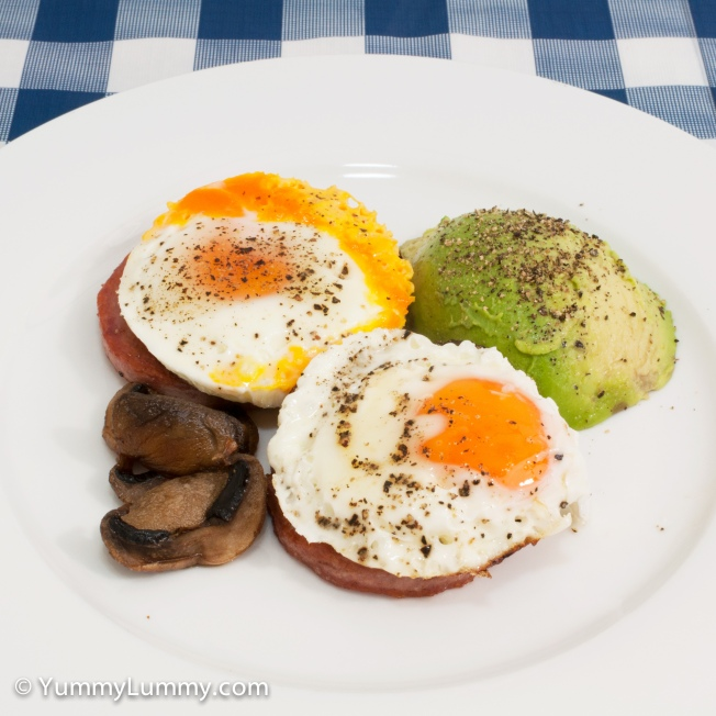 Wednesday 2014-03-05_05.56.43 AEDT Fried eggs with Don Strasburg, avocado and mushroom.