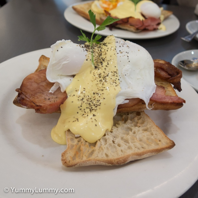 Eggs Benedict with bacon. Breakfast with Miss18 on a Saturday at the Chermside Coffee Club.