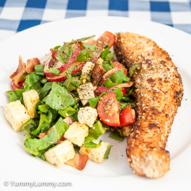 Nut crusted salmon and bacon salad