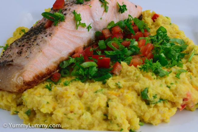 Salmon with low carb cauliflower celeriac pumpkin mash