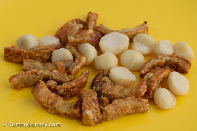 Pork crackling and Queensland nuts