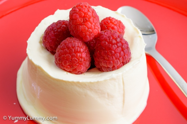Raspberries and unsweetened whipped cream for #dessert
