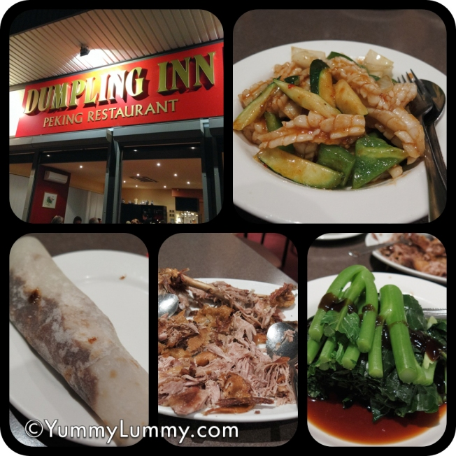 Went out to the Dumpling Inn and enjoyed crispy duck pancakes, braised calamari and Chinese broccoli in oyster sauce.