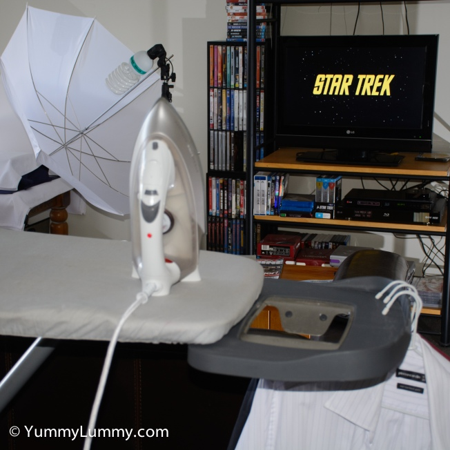 Watching a Star Trek TOS DVD while ironing as part of the #SundayRitual