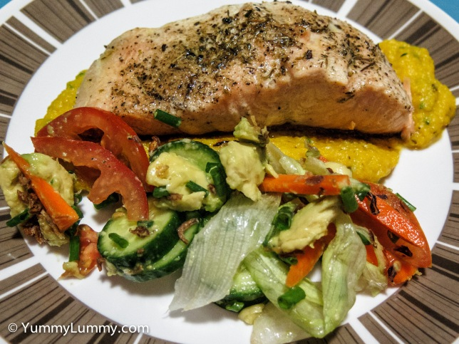 #Dinner is salmon on a smear of pumpkin cauliflower mash with a green salad