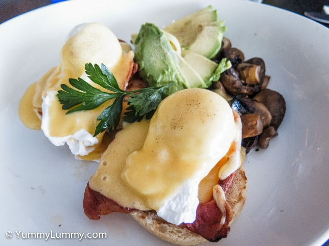 Poached eggs with bacon, hollandaise sauce, avocado and mushroom on sourdough toast