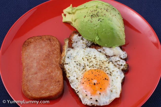 This morning's #breakfast was a fried egg, spam and some avocado.