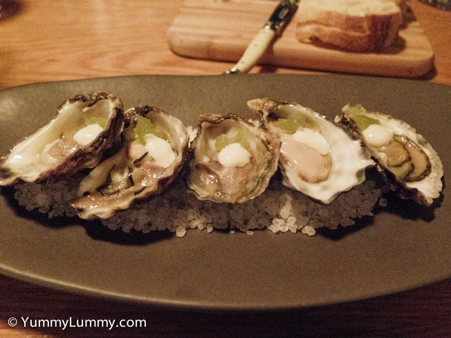 Five freshly shucked merimbula oysters with celery jelly and white soy dressing