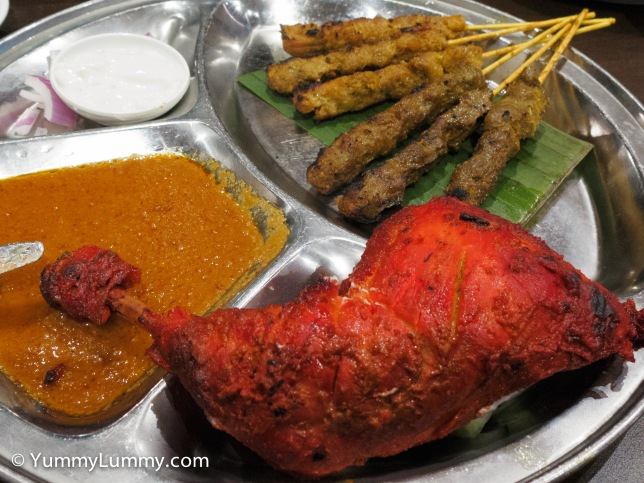 Chicken and beef satay with peanut sauce as well as Tandoori chicken.